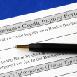 Stock Photo: Complete credit inquiry form