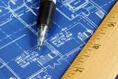 Close up view of the blue print — Stock Photo