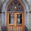 Entrance of an old church in NYC — Stock Photo