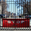A big red Stop barricade behind the gate — Stock Photo