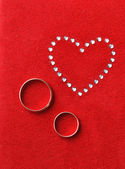 His/ hers wedding rings — Stock Photo