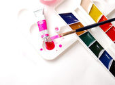 Set of water-color paints and brush — Stock Photo