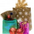 Gift and new year's embellishment — Stock Photo