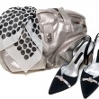 Stock Photo: Silvery bag and pair of the loafer