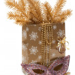 Cristmas gift package, mask — Stock Photo