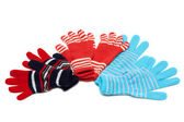 Striped red three pair of the gloves — Stock Photo