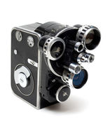 Old movie camera 16 mm with three lenses — Stock Photo