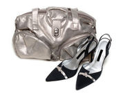 Silvery bag and pair of the loafer — Stock Photo