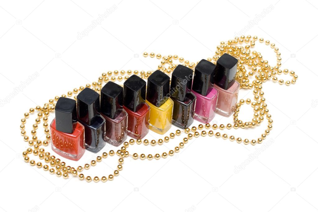 Colour varnish for nail on white background — Stock Photo #2012901