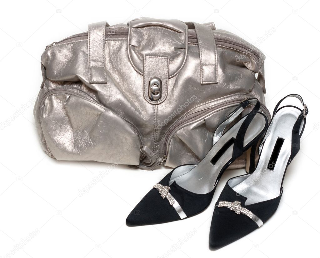 Silvery feminine leather bag and pair of the loafer on white background  Stock Photo #2013889