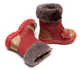 Red baby boots with fur — Stock Photo