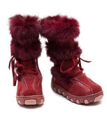Crimson suede baby boots with fur — Stock Photo