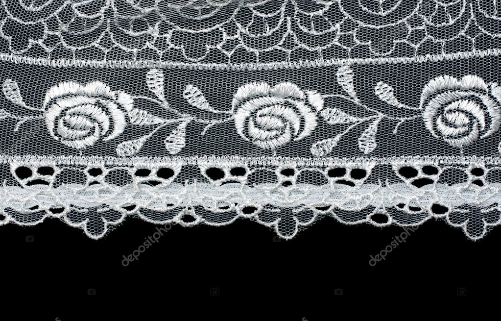 Decorative lace with pattern on black background  Stock Photo #2079120