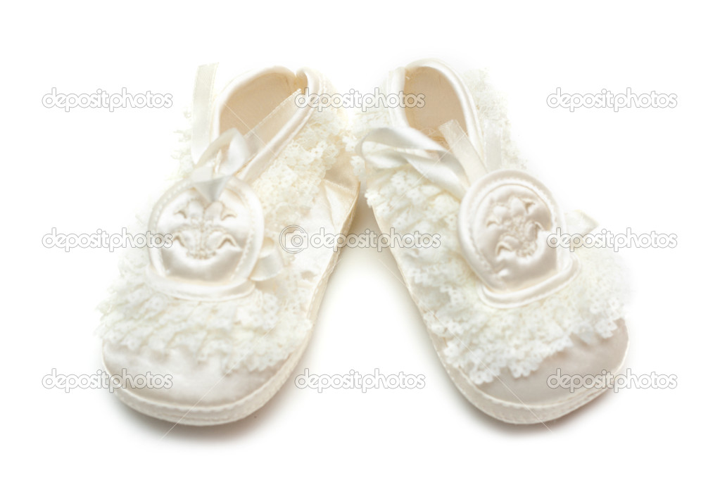 Pair baby satin slippers on white background  Stock Photo #2079185