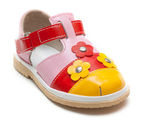 Varicoloured leather baby sandal — Stock Photo