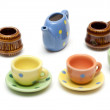 Set of the varicoloured ceramic dishes — Stock Photo