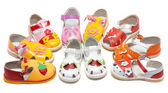 Baby sandals exposed by semicircle — Stock Photo