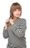 Girl in striped tanktop — Stock Photo