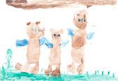Baby drawing three bears — Stock Photo