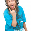 Girl in earphone shows language — Stock Photo