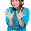 Girl in earphone shows palm — Stock Photo