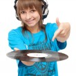 Girl in earphone with vinyl disk in hand — Stock Photo