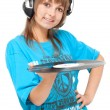 Girl in earphone with vinyl disk — Stock Photo