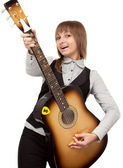 Young girl with guitar sings — Stock Photo