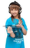 Dziewczyna w słuchawki z winylu dysku — Zdjęcie stockowe
