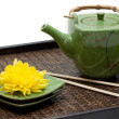 Bamboo tray, green ceramic teapot — Foto de Stock