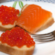 Sandwiches with red roe, salmon — Stock Photo