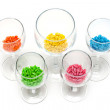 Transparent glasses with sweetmeat - Stock Photo