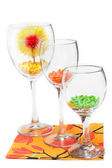 Three glasses with colour sweetmeat — Stock Photo