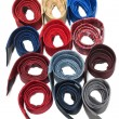 Stock Photo: Milticolour male ties convolute ring