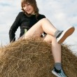 Beautiful girl sits on stack hay — Stock Photo #2547284