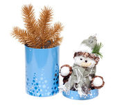 Caixa cilíndrica de brinquedo cristmas — Foto Stock