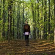 Girl in the woods — Stock Photo