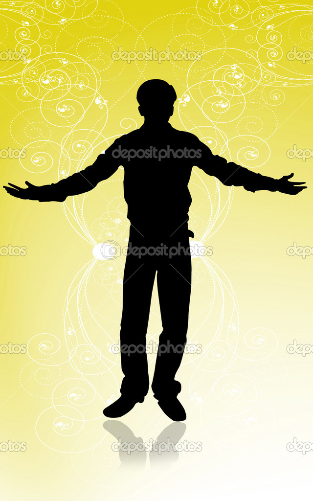 Silhouettes of young man — Stock Photo #2407032