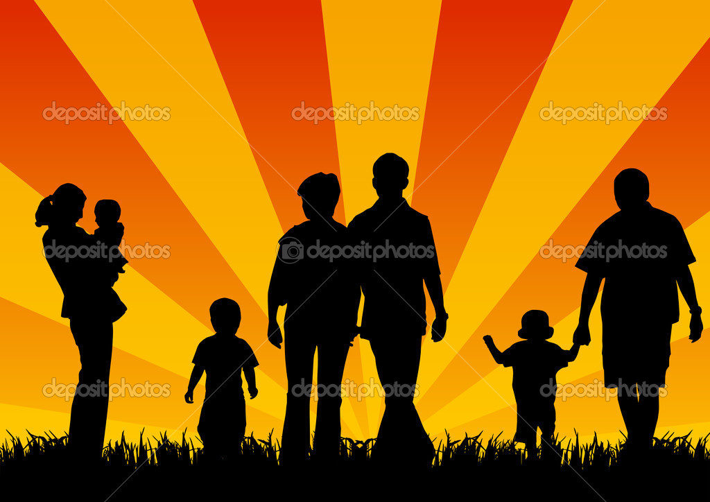 Silhouettes of young with children — Stock Photo #2053889