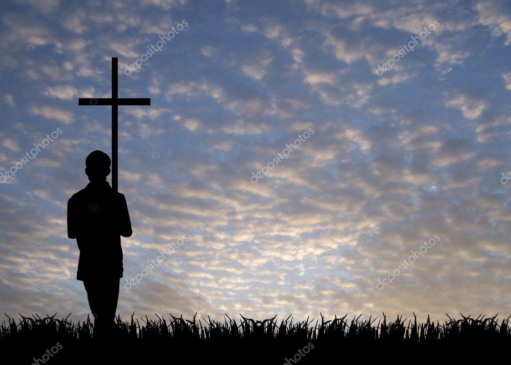Young man with cross — Stock Photo #2054058