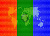 Three colors digital world map — Foto de Stock