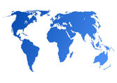Blue world map — Stockfoto