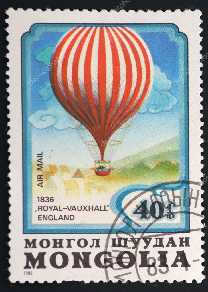Stamp from Mongolia on black background balloons present — Stock Photo #2093277