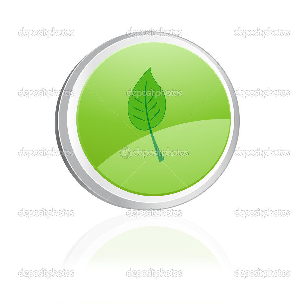 Green button with leaf — Stock Vector #2617008