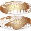 Vector gold world globe — Stock Vector