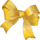 Bright gold gift bow — Stock Vector