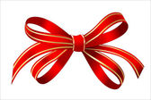 Bright gold and red gift bow — Stock Vector