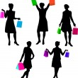 Vector de stock : Shopping girls silhouettes