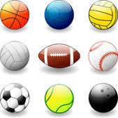 Pelotas de deporte — Vector de stock