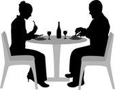 Paar dineren — Stockvector